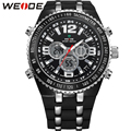 WEIDE Casual Watch Men Military Quartz Analog Digital Display PU Straps Big Dial 3ATM Waterproof Newest Brand Fashion Watches