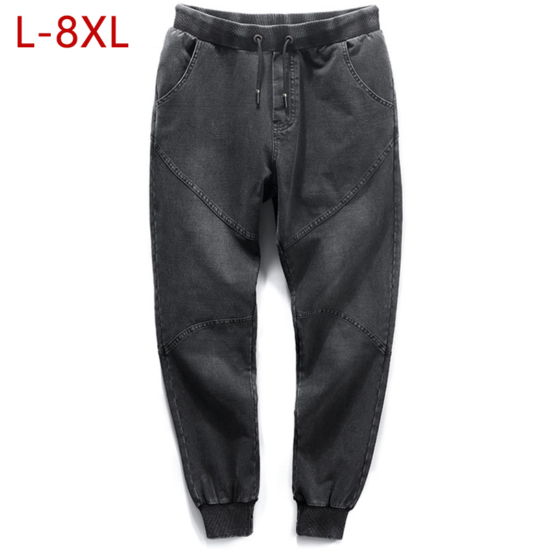 Big Size 8XL Mens Baggy Jeans Spring Autumn High Stretch Male Denim Pants Cotton Fashion Elastic Waist Men Jean Trousers YW33 autumn women jeans high waist stretch ankle length slim pencil pants fashion female jeans laciness jean femme trousers wiccon