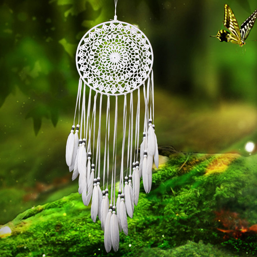 Piuma bianca Bead Dream Catcher Handmade Del Tessuto Campanelli Eolici Appeso A Parete Ornamenti Home Auto Decor CraftPiuma bianca Bead Dream Catcher Handmade Del Tessuto Campanelli Eolici Appeso A Parete Ornamenti Home Auto Decor Craft