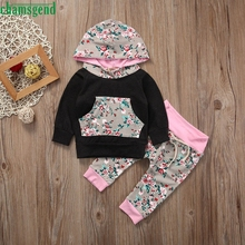 2017 cute 2pcs Toddler Baby Boy Girl Clothes Set floral hooded sweater trousers Hoodie Tops+Pants Outfits P30 baby clothes
