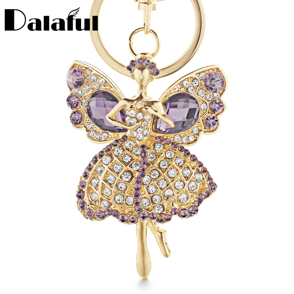 Dalaful Lucky Angel Wings Elves Crystal Keyrings Key Chains Holder Women Gift Fashion Novelty Keychains K244