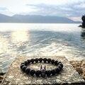 Mantra Oração sorte Jóia 2016 de Moda de Nova Preto Natural Ágata Beads Pulseira para Mulheres e Homens Pulseras Masculina Batman