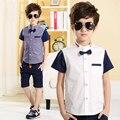 Children's clothing 100% хлопок рубашка ребенок boysshirts отложным воротником топы 2017 сплошной цвет летом стиль дети короткие-рукава