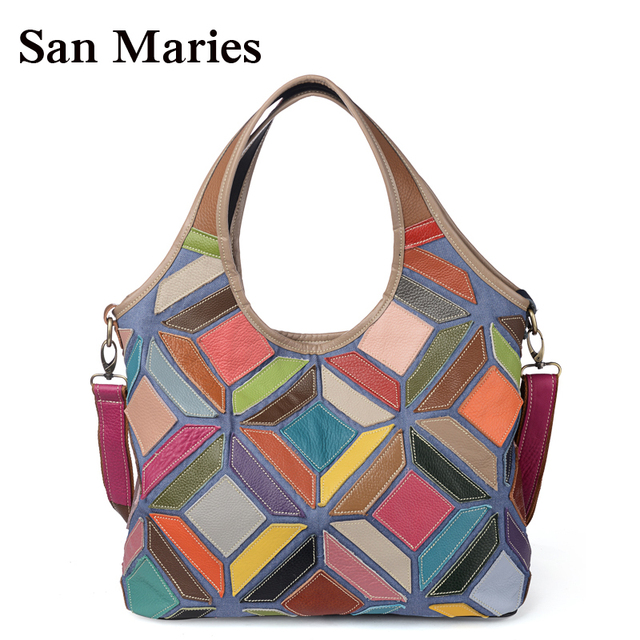 San Maries Europe Women Leather Handbags Large Hobos Handbag Patchwork  Colorful Tote Ladies Purses