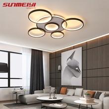Modern LED Ceiling Lights Black Indoor Lighting Living room Dining room Kitchen Hotel Hanging Ceiling Lamp with Remote Control