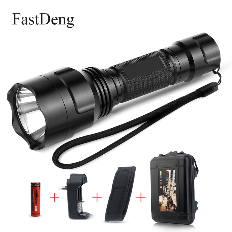 LED Flashlight XML T6 C8 Torch 2000Lumens Flash Light Tactical For Riding Camping Hiking Hunting With 18650 Battery + Charger
