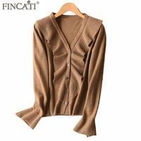 Cardigans Woman 2018 High End Spring Autumn 100% Cashmere Ruffled Frilled Single Breasted Long Flare Sleeve Fashion Knitwear