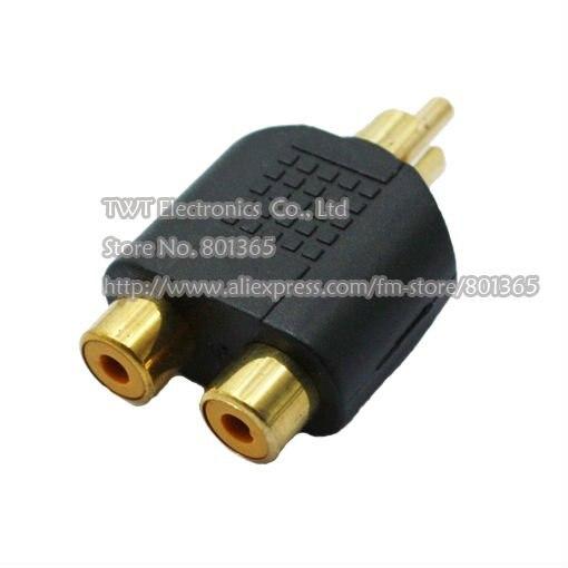 Free shipping 3 RCA Adaptor Splitter 1 Male to 2 Female Audio AV Plug 3 RCA Adaptor Splitter 1 Male to 2 Female Audio AV 10Qty