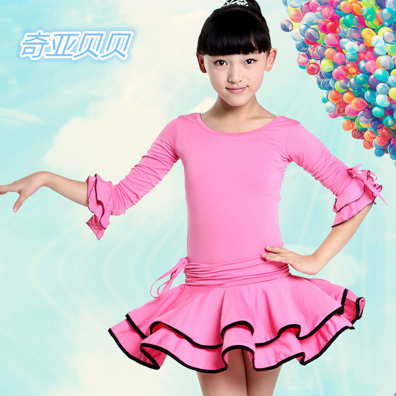 Pink/Yellow/Blue Lotus Sleeves Latin Dance Dress Child Leotard Tutu Ballroom Skirts Girls Salsa Costumes Tango Dancing Clothes