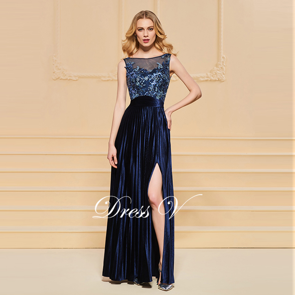 b2fbc5f54191d US $113.13 45% OFF|Dressv evening dress scoop neck a line beading button  lace pleats split front wedding party formal dress evening dresses-in  Evening ...