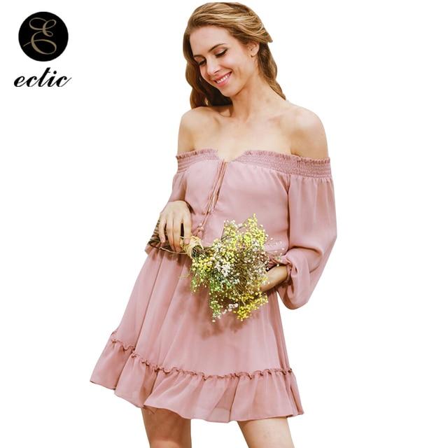 ada2f8e4a41 New Chic Robe Femme 2019 Summer Dress Off Shoulder Pastel Pink Sundress  Sukienka Shirred Dress Lace Up Kleider Ruffle Mini Dress