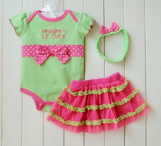 2013 Summer New baby girl's 3 pc sets short sleeve little princess romper suit +chiffon skirt+hairbands free shipping
