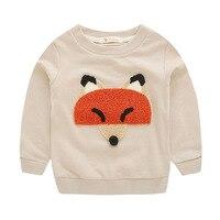 Bébé Garçon T-shirt À Manches Longues de Bande Dessinée Fox Boy T chemises 2017 Automne Enfants Vêtements De Mode Chute Des Animaux Filles Garçons T-shirt Tenues