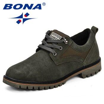 BONA Männer Schuhe Mode Sommer Herbst Komfortable Men Casual Schuhe Wildleder Denim Männer Atmungs Wohnungen Schuhe Lace Up Anti- slip Schuhe