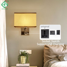 Socket USB E27 LED Bulb Wall Lamp Stair Bathroom Sconce Wall Lights with Switch Applique Nordic Bedside Lamps Bedroom Lighting