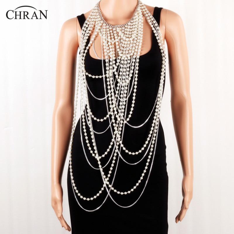 Chran Sexy perlé chaîne écharpe pendentif Center dames gilet argent or couleur fausse perle bavoir épaule collier bijoux de corps BDC904