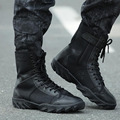 Hellozebra Fashion Boots Black Air Mesh Outdoor Men Combat Tactical Breathable Hiking Riding Mid Lace Up Shoes 2016 Summer New