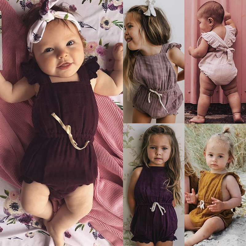 HTB1TDN8azzuK1Rjy0Fpq6yEpFXaq 6 Color Cute Baby Girl Ruffle Solid Color Romper  Jumpsuit Outfits Sunsuit for Newborn Infant Children Clothes Kid Clothing
