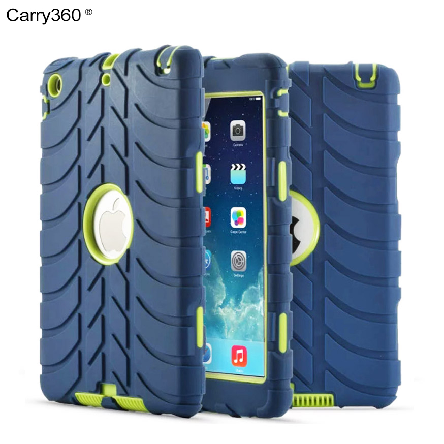 Carry360 For Apple iPad Mini 1 2 3 Case Kids Baby Safe Armor Shockproof Heavy Duty Rugged Triple-Layer Silicone Hard Cover for ipad mini ipad mini 1 2 ipad mini 3 case silicone heavy duty shockproof hybrid rubber rugged hard protective skin cover case