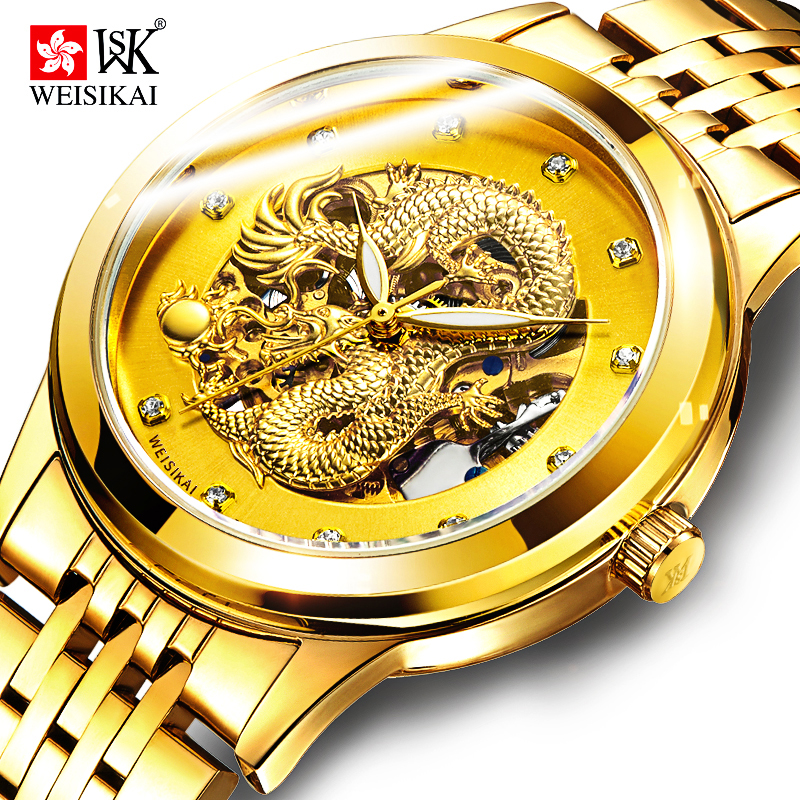 WEISIKAI Gold Automatic Watch Men Chinese Dragon Mechanical Watches Mens Waterproof Luminous Wristwatch Clock montre homme mg orkina small second hand dial wristwatch rose gold case mens watches luxury automatic watch montre homme clock men casual