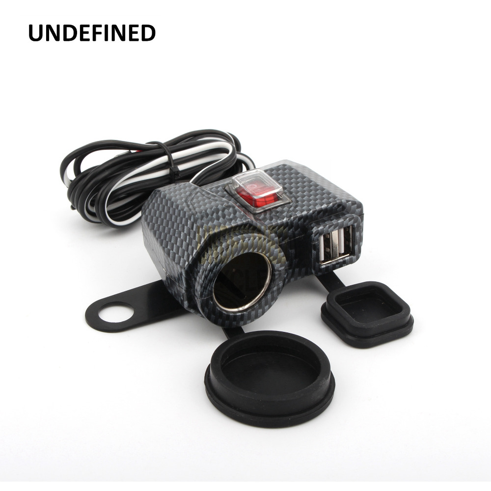 UNDEFINED Motorcycle Parts Carbon Dual USB Power Mirror Mount Waterproof Lighter Charger Switch for BMW Honda Suzuki Universal|switch switch|switch waterproofswitch bmw - AliExpress