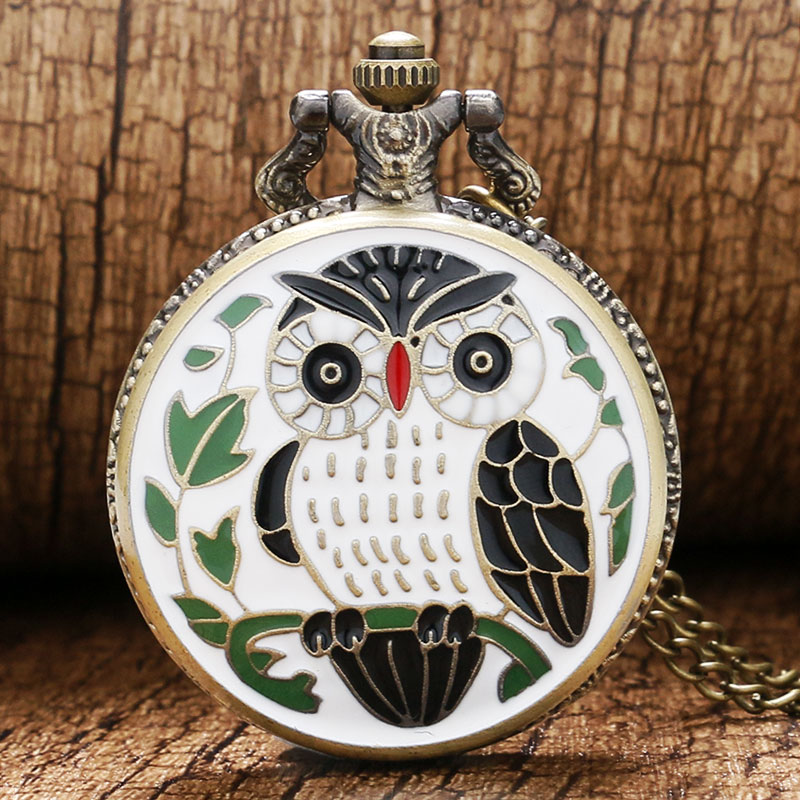 Exquisite Bronze Enamel Owl Case Round Steampunk Quartz Pocket Watch+Necklace For Men Women Gift