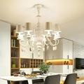 Nordic Vintage Pastoralen Stil Eisen Weiß Kronleuchter Kreative persönlichkeit schlafzimmer wohnzimmer esszimmer E14 Lampen|Pendelleuchten|Licht & Beleuchtung -