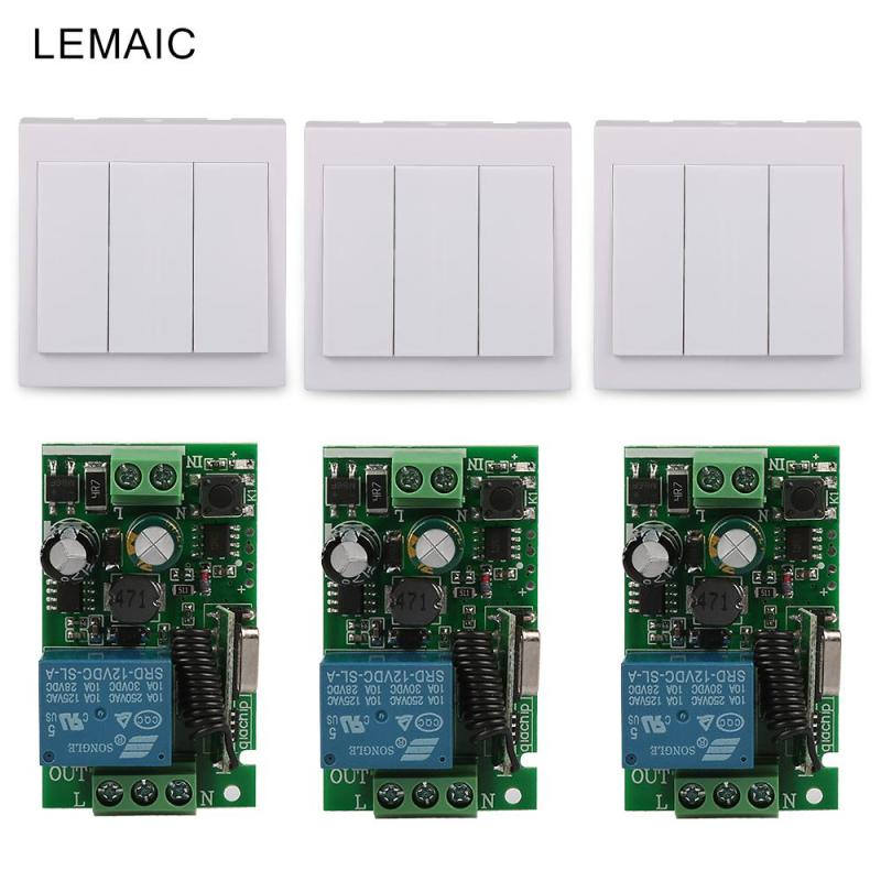 433Mhz Universal Wireless Remote Control Switch AC 110V 220V 1CH Relay Receiver Module and RF 433 Mhz 86 Wall 3CH Remote Control 110v 220v remote relay control switch 12ch receiver