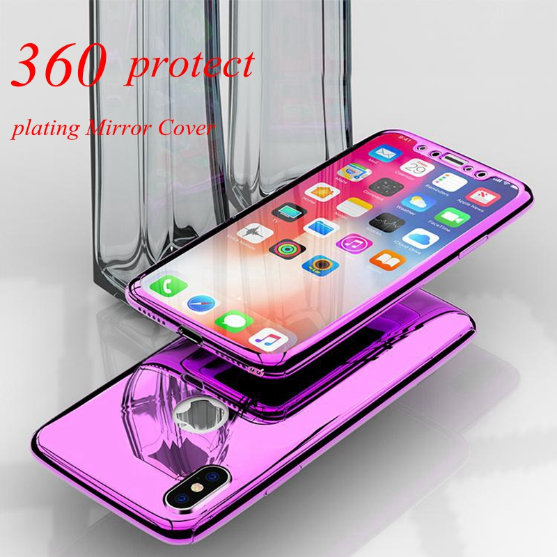 360 Mirror <font><b>Case</b></font> For iPhone XS Max XR iphone 7 8 6 <font><b>6S</b></font> Plus X Plating <font><b>Case</b></font> For <font><b>Samsung</b></font> Galaxy Note 9 S8Plus Galaxy S9 S7 <font><b>Edge</b></font> <font><b>Case</b></font> image