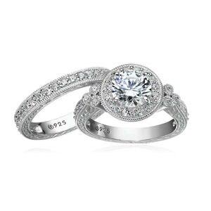 Image 3 - Newshe Conjuntos de anillos de boda de corte redondo AAA CZ para mujer, de plata de ley 1,2, banda de compromiso, joyería clásica para mujer JR4968