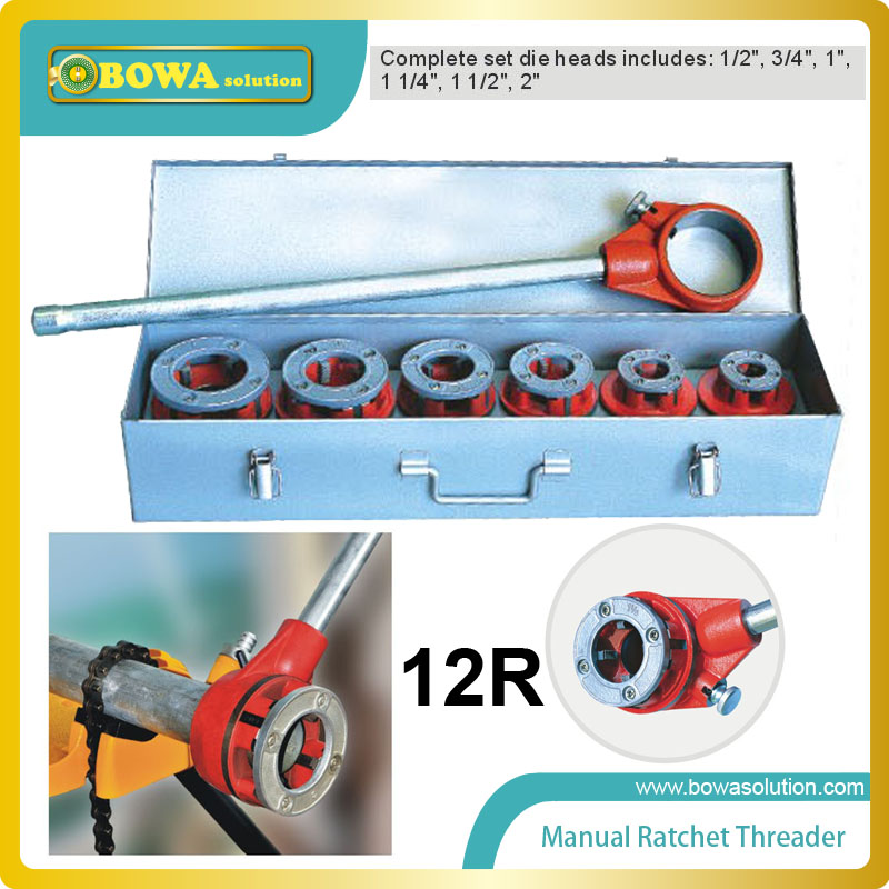 Manual ratchet threader Capacity: 1/2-2 including Die Heads, Ratchet Assembly, Ratchet Handle;compatible 12-R Dies in Die Head xkai 14pcs 6 19mm ratchet spanner combination wrench a set of keys ratchet skate tool ratchet handle chrome vanadium
