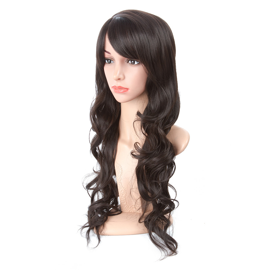 Aigenei 20 Inch Long Wavy Kanekalon Heat Resistant Synthetic Fiber Wigs For Women