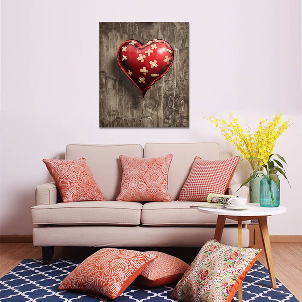 Unframed Canvas Prints Repaired Heart-Shaped Red Balloon Prints Wall Pictures For Living Room Wall Art Decoration Dropshipping