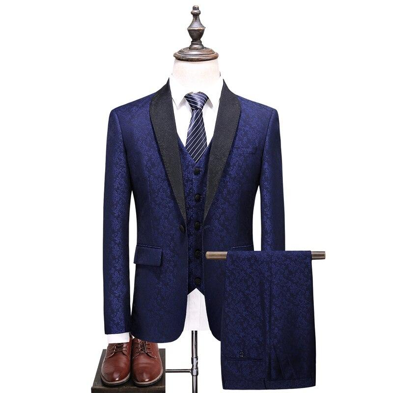 Plyesxaleショール襟スーツ男性2018スリムフィットメンズ結婚式スーツファッションプリントブルーブルゴーニュタキシードジャケットパンツベストq375  グループ上の メンズ服 からの スーツ の中 2