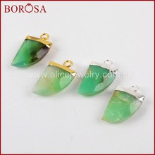 BOROSA Gold Color 100% Natural Australia Green Natural Stone Drusy Horn Charm DIY Earrings Jewelry Making for Women 1378(China)