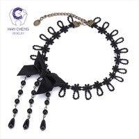 HanCheng New Fashion Lace Silk Ribbon Black Bead Tassel Bow Tie Choker Necklace Women Necklaces Vintage collar jewelry bijoux