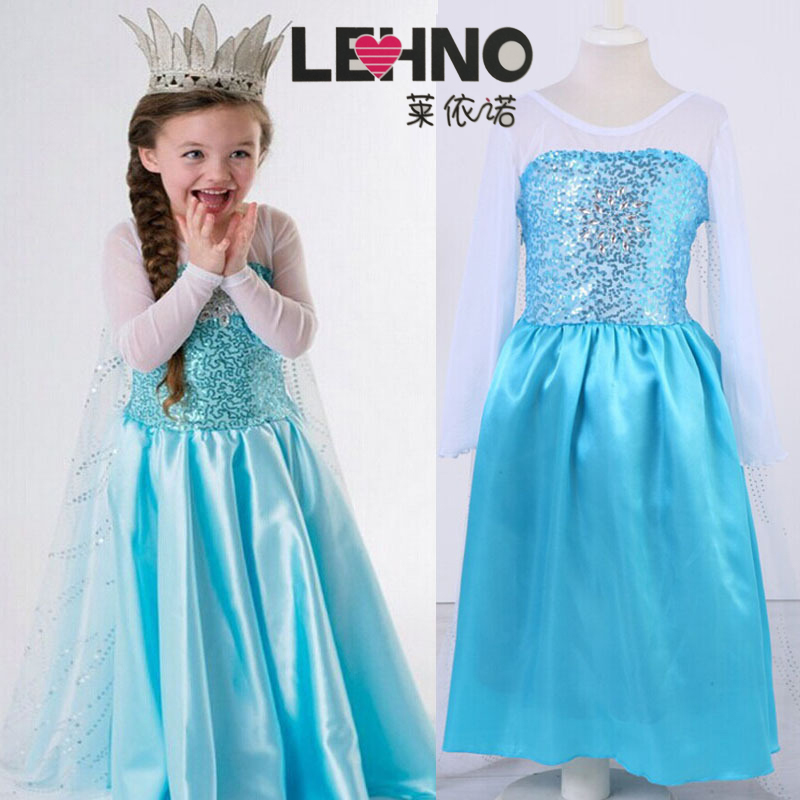 FBA shipping Disney Frozen Dress Snow Queen Girls Cosplay Costumes Kids Birthday Party Dresses Princess Dress Children in Girls Costumes from Novelty Special Use