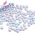 Круглые имитация жемчуга в радужной расцветке, разноцветные шарики без отверстий, 3/4/5/6/8/10 мм, аксессуары для самостоятельного изготовления ...