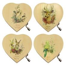 Bevigac Mini Wooden Love Heart Hand Crank Music Musical Box Toy Gift for Birthday Children's Day Memorial Day Random Style