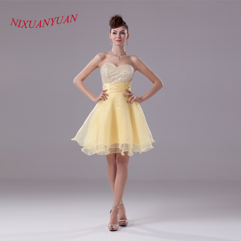NIXUANYUAN 2017 Yellow Organza Party Dress Short Sweetheart Cheap Cocktail Dresses 2017 Sequins vestidos de cocktail Real Photos