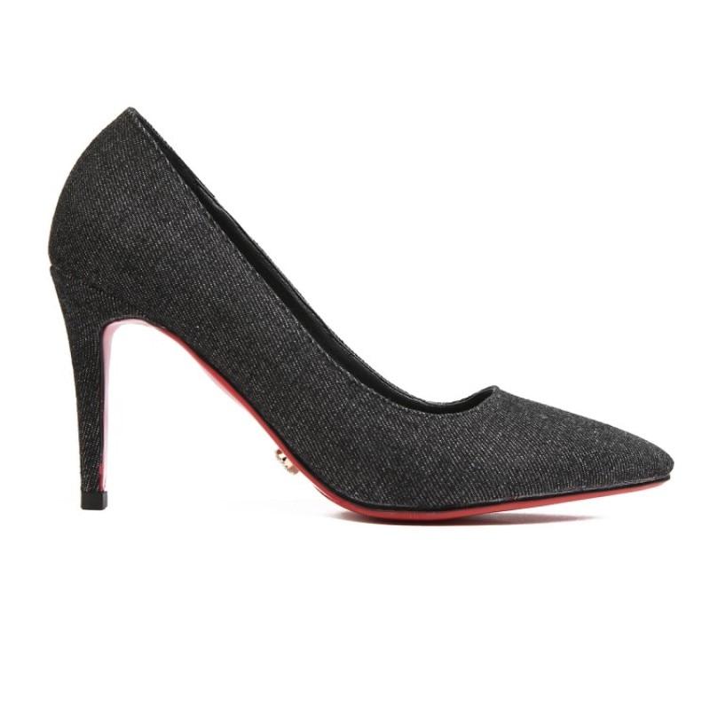 De Hermosa 34 Cm Manera Shofoo Zapatos Punta 5 Alto Tela 45 La 8 Envío Mezclilla Del Bombas Libre Mujer Negro Tacón Tamaño azul Estrecha 0RqfI