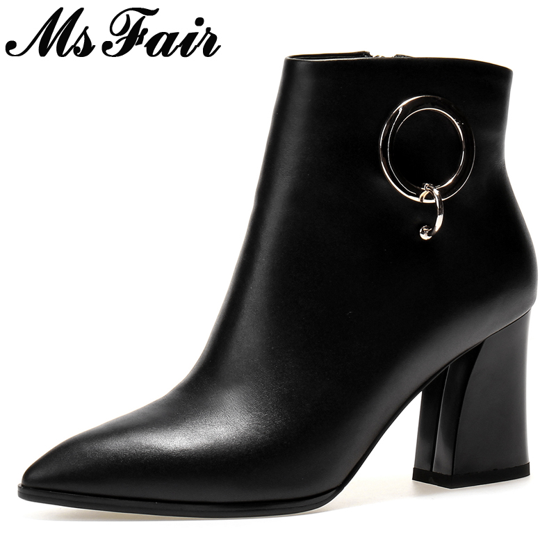 MsFair Pointed Toe High Heel Women Boots Fashion Metal Decoration Ladies Ankle Boot 2017 Winter Zipper Square heel Women's Boots nemaone 2018 women ankle boots square high heel pointed toe zipper fashion all match spring and autumn ladies boots