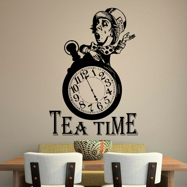Funny Clock Silhouette Tea Time Wall Decals For Kitchen Wall Posters Vinyl  Wall Stickers Home Decal