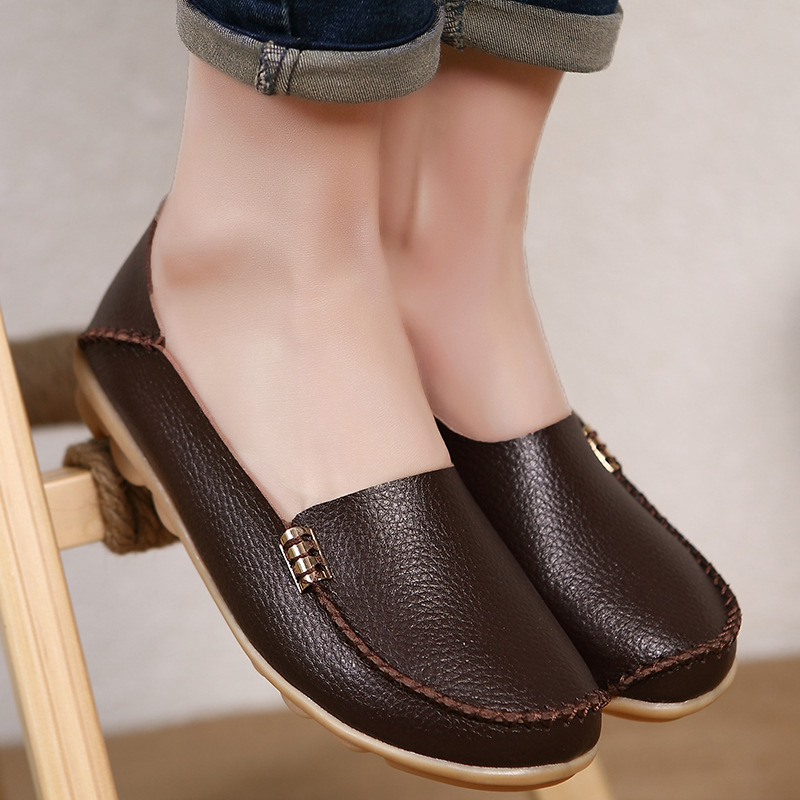 Genuine Leather Women Ballet Flats Summer Moccasins Loafers Casual Shoes Flat Comfortable Slip On Zapatos Mujer women t strap moccasins flat shoes low heel sandals black gray pink pointed toe ballet flats summer buckle zapatos mujer z193