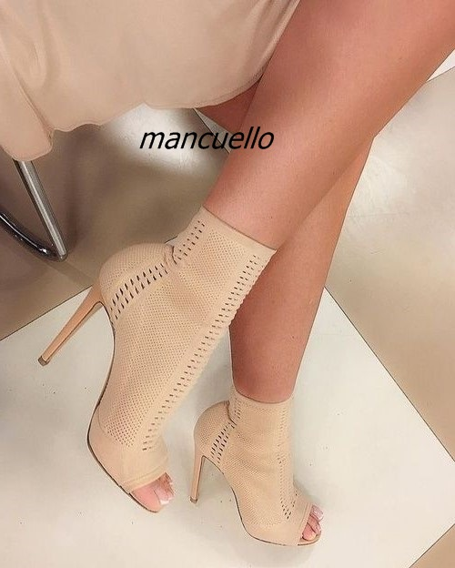 Unique Design Summer Beige Ankle Boots Women Sexy Cut-out Open Toe Thin Heel Booties Fashion Stiletto Heel Dress Sandals fashionable pu leather and stiletto heel design sandals for women