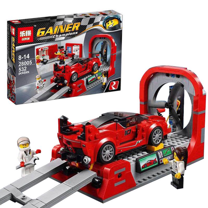 ФОТО 532Pcs Lepin 28005 Technic Super Racer Series The FXX K and Development Center Building Blocks Bricks kits Toys Compatible 75882
