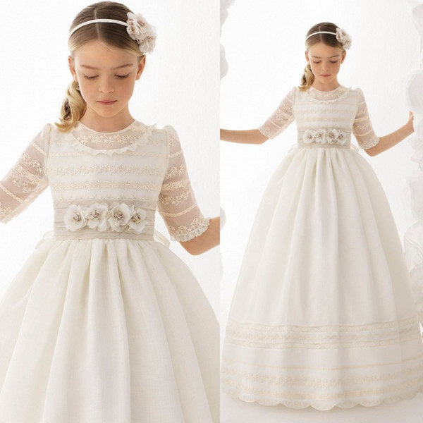 2018   Flower     Girl     Dresses   first Communion Lace Half Sleeves Spanish Style Children Little Bride   dresses   Satin Wedding Party Gown