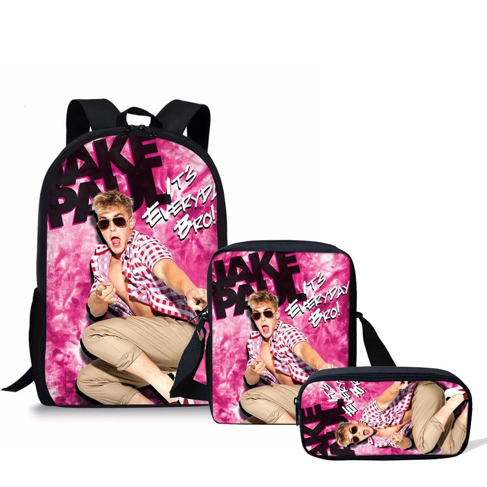 FORUDESIGNS 3pcs/set Schoolbag 3D Printing Backpacks Kids School Bags for Girls Escolar Infantil Bookbag Logan Paul Customized