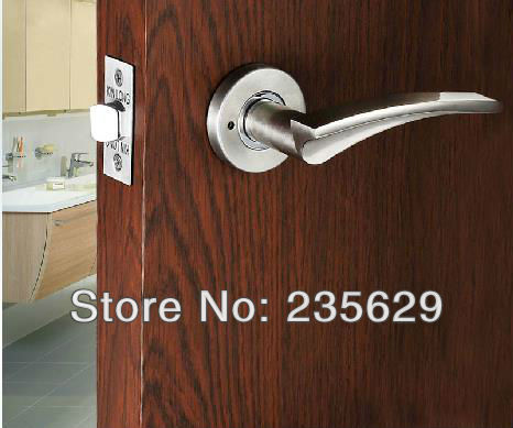Free Shipping, Bathroom/ Washroom/ Toilet Door Lock, brushed nickel Finished, Zinc Alloy Handle, Brass cylinder, No key male leather casual short design wallet card holder pocket