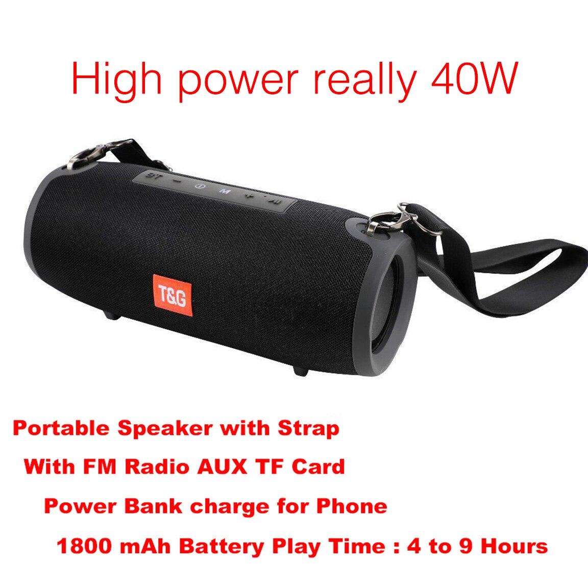Haut-parleur Bluetooth 40W haut-parleur Portable colonne lecteur de musique haut-parleurs colonne BoomBox avec Radio FM Aux TF Subwoofer Dolube TG125